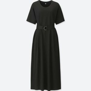 Uniqlo Belted Short Sleeve T Dress Black XS